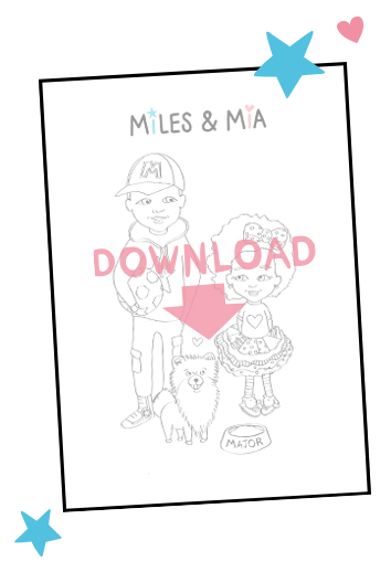 Miles and Mia colouring book